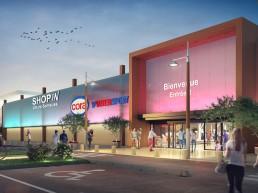 Perspective 3D de centre commercial photoréaliste