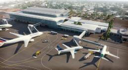 Perspective 3D aérienne d'un aéroport - bureau d'étude