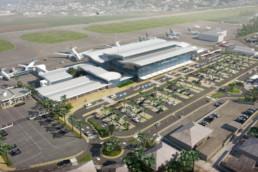 Visuel 3D aérien en axonométrie de l'aéroport