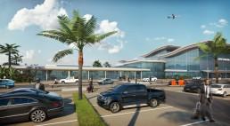 Perspective 3D piétonne du terminal principal de l'aéroport