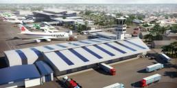 Vue 3D de drone de la partie fret de l'aéroport