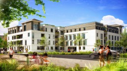 Ensemble de logements en rendu 3D de promotion immobilière