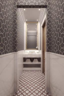 Visuel 3D des sanitaires de l'appartement haussmannien à Paris