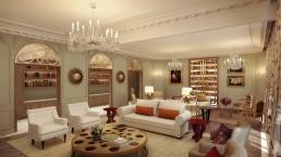 Perspective 3D d'un luxueux appartement parisien