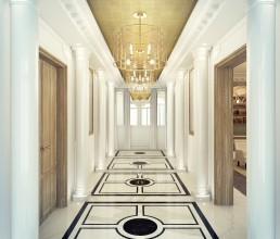 Hall d'accueil d'un appartement haussmannien de luxe