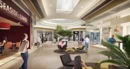 Galerie commerciale en perspective intérieure 3D