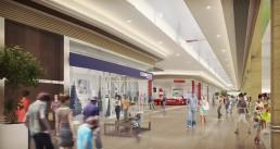 Intérieur de centre commercial - visualisation 3D photoréaliste