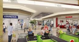 visuel 3D de décoration intérieure d'un centre commercial