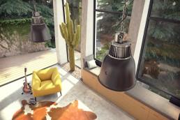 Vue 3D aérienne du salon de la villa