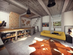 Perspective 3D de décoration d'architecture de la villa