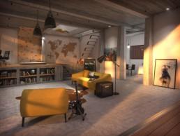Vue 3D en soirée de la villa contemporaine