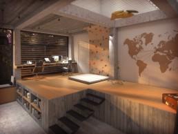 Perspective 3D d'intérieur du bureau et de la salle de sport