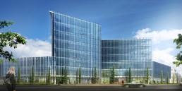 rendu 3D d'un immeuble de bureaux à Strasbourg