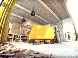 Perspective 3D en ultra grand angle du salon