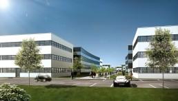 Bâtiments de bureaux - perspective 3D de ZAC