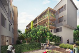 Rendu 3D réaliste des jardins partagés des logements sociaux