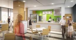 Snack en représentation 3D d'un immeuble de bureaux