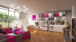 Rendu 3D de cafétéria photoréaliste - Illustration du bar et de la salle de restauration