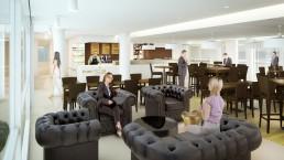 Mise en image 3D du salon détente d'un restaurant cafétéria d'entreprise
