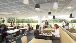 Visuel 3D de la salle à manger du restaurant d'entreprise