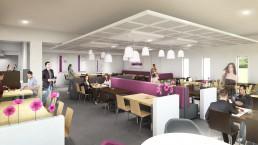 Décoration 3D intérieure du restaurant et salle à manger