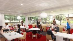 Perspective 3D photoréaliste du restaurant des bureaux de l'immeuble.