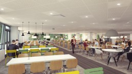Perspective 3D d'un restaurant d'entreprise en self-service