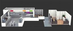 Vue 3D en coupe d'une cafétéria et de sa distribution