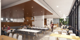 Illustration 3D d'une salle à manger de restaurant d'entreprise