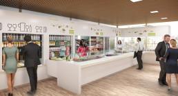 Rendu 3D du point de vente d'un snack de restauration