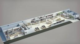 Axonométrie d'un plan d'aménagement - distribution de restaurant