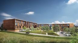 Perspective 3D de bâtiments de bureaux pour un promoteur