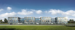 Rendu 3D de façade de bureaux pour une plaquette de promotion