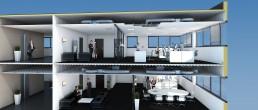 Coupe 3D en éclaté d'un aménagement de plateau de bureaux