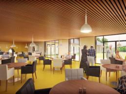 Salle à manger en images de synthèse 3D de l'EHPAD