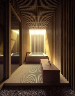 Perspective 3D d'une salle de bain contemporaine de luxe