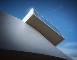 Perspective 3D réaliste d'un musée moderne