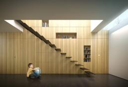 Illustration 3D d'architecture intérieur de villa contemporaine