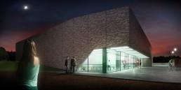 Perspective 3D d'un gymnase et salle polyvalente de nuit