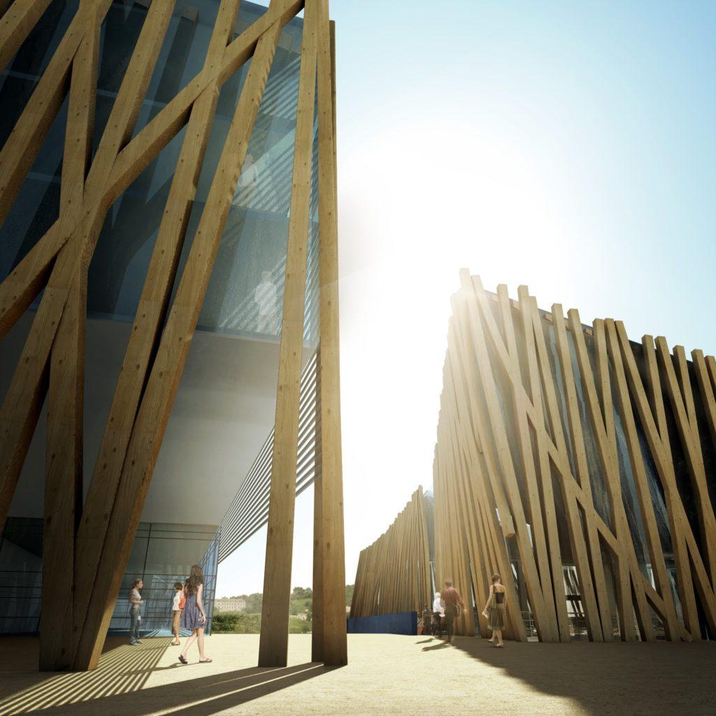 Perspective 3D de concours d'architecture de centre œnologique