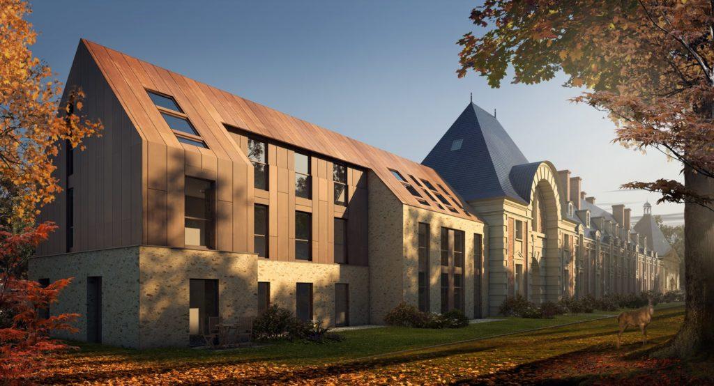 Perspective 3D de concours d'architecture de château conservé