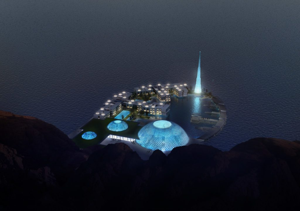 Perspective 3D de concours de logements futuristes aux emirats