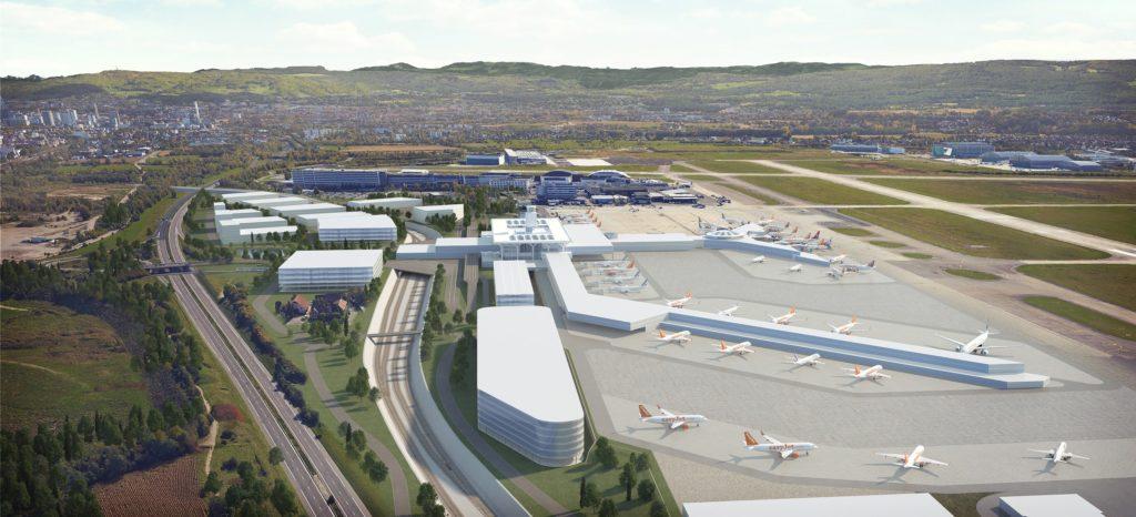 illustration 3D de faisabilité d'un aéroport
