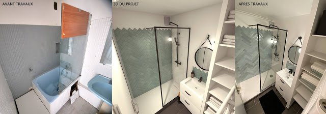 Perspective 3D de rénovation avant-après-salle de bain