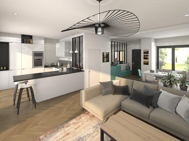 Perspective 3D de séjour de maison neuve