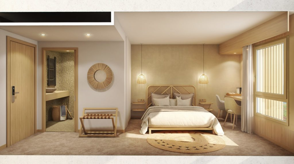 Perspective 3D intérieure d'une chambre d'hôtel