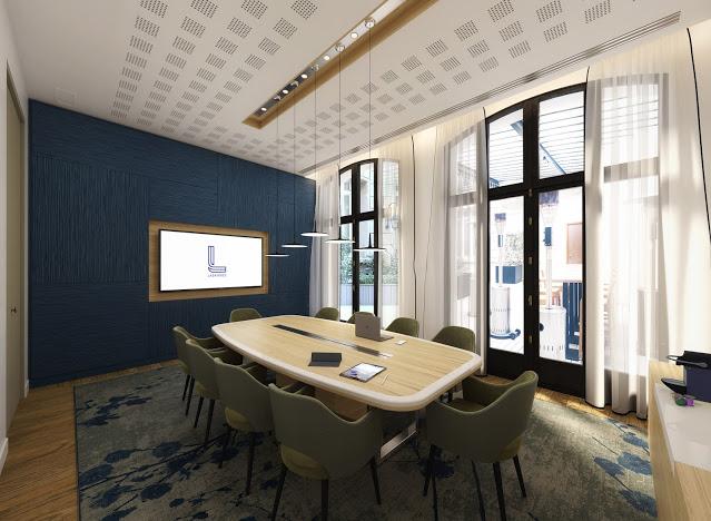 Visuel 3D intérieur d'une salle de réunion d'un immeuble de bureaux parisien