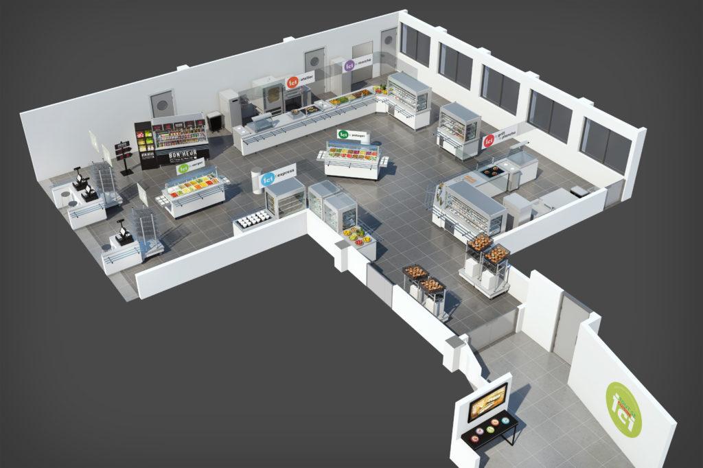 Plan d'aménagement 3D de distribution d'un restaurant