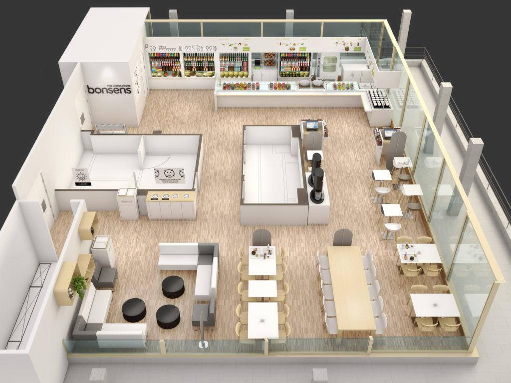 Plans 3D d'aménagement - Restaurant et cafétaria