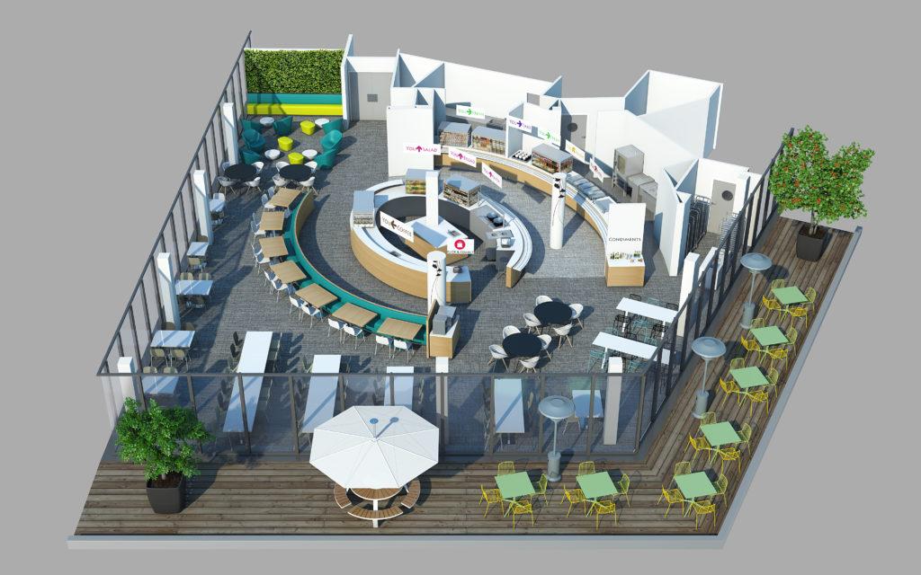 Axonométries 3D - Restaurant et cafétaria